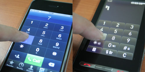 Touch experience on the iPhone and LG Prada phone